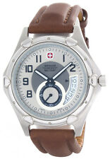 Wenger Swiss Military Men's silver dial Brown Leather Strap Watch 79008