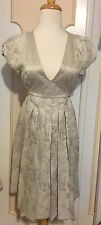 NWT BCBGirls BCBG EMBROIDERED TAPESTRY PLEATED V-NECK DRESS~OATMEAL~SMALL~$108!