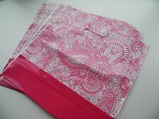 """50 in Plastica Rosa Stampa Paisley Carrier Bags 12 """"X 12"""""""