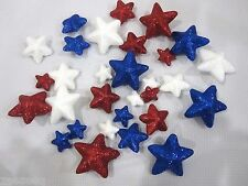 Lot of (30) Patriotic 4th of July Glitter Stars Decorations Bowl Basket filler