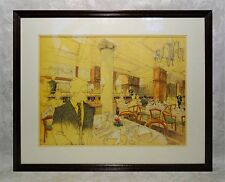 Vintage Mid Century Modern Painting Architectural Drawings Illustration Art