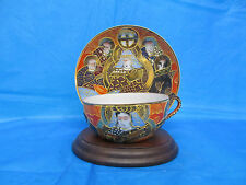 Japanese Moriage Lithophane Cup & Saucer Immortals Hand Painted