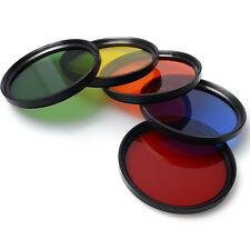 58mm Blue Yellow Orange Red Green Color filter + Lens Cap for Canon Camera LF70
