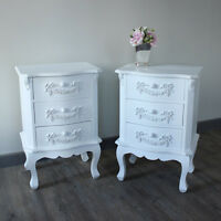Shabby French Style Chic White Wooden Bedside Side Table Bedroom Side 2 Drawers