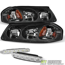 Blk For 00-04 Chevy Impala Replacement Headlights Lamps+Smd Bumper Fog Lights