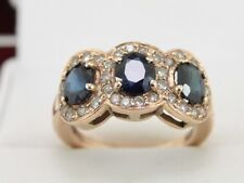 Diamond and Sapphire Cluster Ring 14K Gold Ladies Size L W37