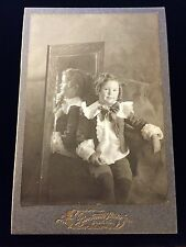 MIRROR REFLECTION RARE BACK SIDE HAIR CHILD CABINET CARD PHOTO WISCONSIN 1622
