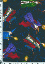 Fabric Timeless Medieval Fair Wizards Tossed on dark blue night sky C2710 BTHY