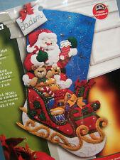 "18"" BUCILLA SANTA & HIS SLEIGH FELT EMBROIDERY BEADED CHRISTMAS STOCKING KIT"