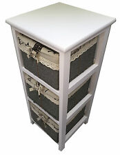 Maize Baskets Unit White Wooden Slim 3 Drawer Cabinet Storage Organiser Bathroom