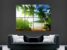 TROPICAL BEACH POSTER  SEA AND SAND PALM TREES PARADISE SUNSET  LARGE GIANT