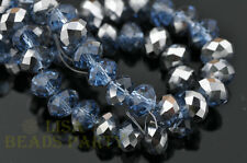 50pcs 4x6mm Faceted Rondelle Crystal Glass Loose Bead Half Silver Half Lt Blue