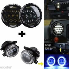 "7"" Round LED Headlight+4"" LED Fog Light Blue Halo Angel Eye DRL Jeep Wrangler JK"