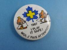 BLUE CROSS CANADA SKIING 1987 PLAY SAFE VINTAGE COLLECTOR BUTTON PINBACK