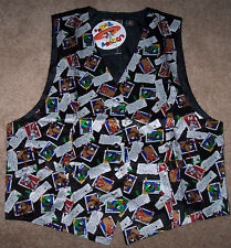 NWT Looney Tunes 100% Silk Vest Black CARTOON STRIP ADS Men's M Wedding/Party