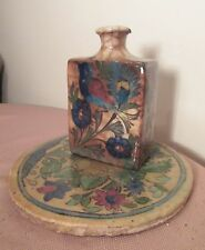 rare 19th century antique handmade Persian pottery figural flask jug jar tile