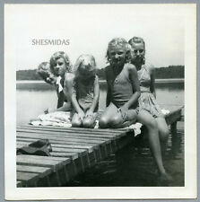#745 Swimsuit Pre-Teen Girls on the Pier, Vintage 1947 Photo