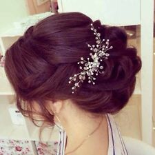 Bridal Crystal & Pearl  Hair Vine Comb Wedding Proms Headband Pin Headpiece