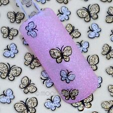 3D Glitter Gold Butterfly Nail Art Stickers Decals For Nail Tips Decoration DIY