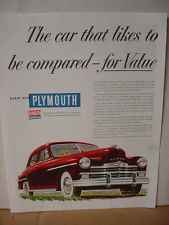 1949 Plymouth Car Automobile likes to be compared Vintage Print Ad 10140