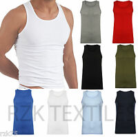 3 x Men's Vest Fitted Plain 100% Cotton Muscle Gym Summer Top Vests S M L XL XXL
