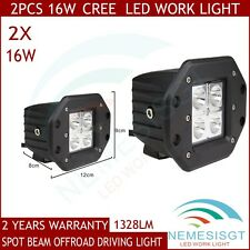 2X_16W CREE LED Work Light Bar Offroad Driving Fog SUV Spot Beam Flush Mount 4WD