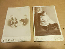 LOT 2 ANTIQUE CABINET CARD PHOTO CUTE LITTLE GIRL VICTORIAN CHAIR FAMILY PARKERS
