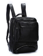 Men's Black Leather Large Backpack Double Shoulder Laptop Outdoor Hiking Bag New