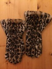 Vintage 40s Fur Gloves Gauntlet Leopard Print Rabbit Fur Leather Soft Warm 7.5