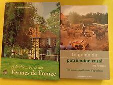 2 livres A la découverte des fermes de France + Le Guide du patrimoine rural