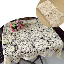 Vintage Hand Crochet Lace Cotton Tablecloth Placemat Square Table Cloth Retro1PC