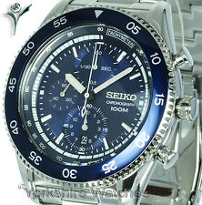 Mens SEIKO SPORTS BLUE FACE CHRONO WITH STAINLESS STEEL BRACELET SNDG55P1