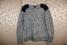 J. Crew Black White Marled Wool Mohair Colorblock Shoulder Sweater XS