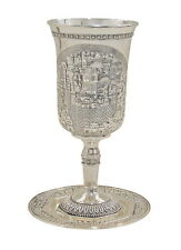 Elijah's Cup Tall Kiddush Cup of Jerusalem with Saucer for Passover Seder