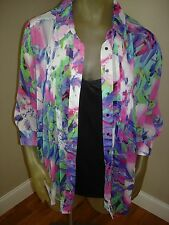 NWT $68 Fever 3/4 Sleeve Sheer Floral Multi Color Blouse Top w/ Tank Womens M
