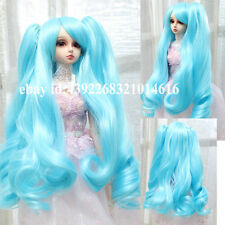 CUTE  Sky blue pigtails long curly hair   For 1/3 BJD LUTS PULLIP SD Doll Wig