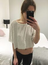 Topshop Unique White Sequin Backless Crop Top Size 16 (fit 8,10,12,14 See Pic)