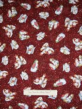 Christmas Fabric - O Snowy Night Snowman Nativity Toss Red - Red Rooster YARD