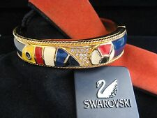 SWAROVSKI SWAN SIGNED CRYSTAL NAUTICAL PARROT GOLD PLATED BRACELET BANGLE