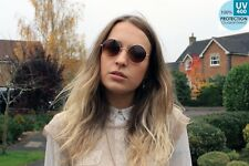 400UV-Ray lens sunglasses round boho circle hippy BROWN gold frame@ban_that_sun