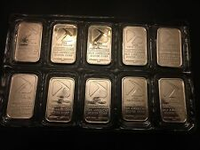RARE! ~~ 10 x 1 oz Pan American .999 Fine Silver Bars - Mint-sealed packaging!