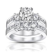 1.85ct  Ladies Round Cut Diamond Engagement Accented Ring In Platinum