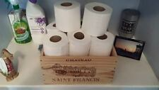 1 X GENUINE FRENCH WOODEN WINE BOX PLANTER HAMPER - TOILET ROLL HOLDER / BASKET