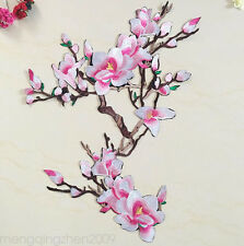 Pink Magnolia Feather Embroidered Appliques iron-on patches Ethnic Fashion Charm