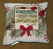 Christmas Cardinals & Birdhouses Tapestry Square Pillow