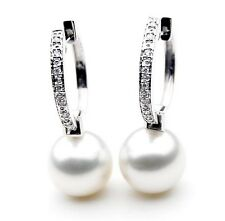 $7,999 Pacific Pearls® AAA 13mm Australian South Sea Pearl Earrings Diamonds