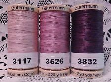 3 purple GUTERMANN 100% cotton hand thread for Quilting 220 yard Spools