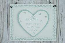 SHABBY Chic MAMMA Placca cuore pizzo mamme come voi sono preziosi & pochi f1500a