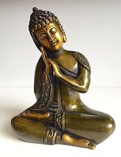 Antique Buddha 6x5'' Heavy Carved Sleeping Meditation Budha Brass Statues Buddha