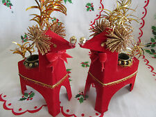 VTG RARE~Holt Howard 1950'S~Christmas~RED FELT REINDEER CARDBOARD Candle Holders